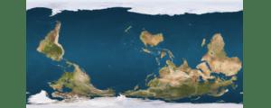 An upside down world map